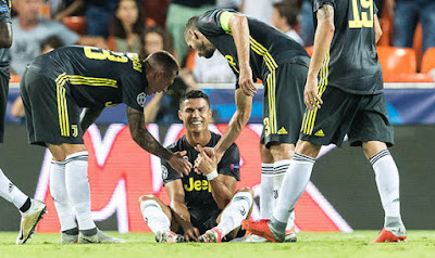 Cristiano Ronaldo was sent off against Valencia