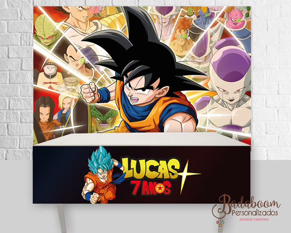 Dargon Ball Super, Dragon Ball, painel, arte digital saia de mesa, festa infantil, festa dragon ball, arte personalizada