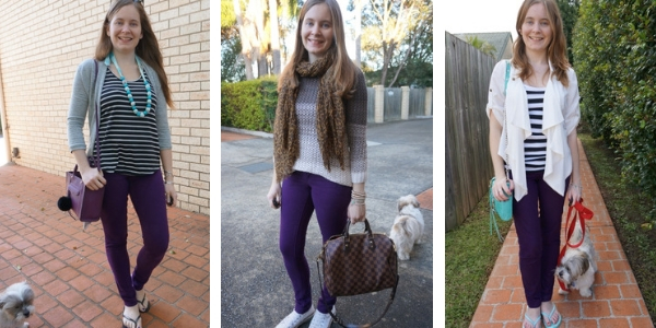 how to wear purple jeans 3 outfit ideas with neutrals | away from the blue