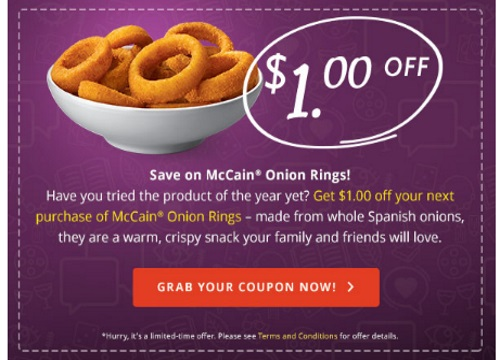 McCain Onion Rings $1 Off Coupon
