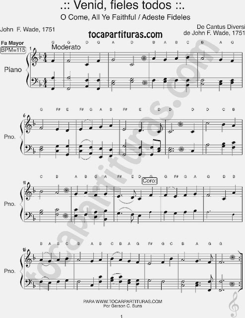 Easy Sheet Music of Adeste Fideles for Beginners Piano Players in F Major O Come Book of Faith - Music Sheet Melodic  to play with piano Villancico