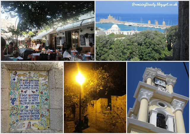 Rhodes town restaurant, ancient storehouses or windmills in the harbour and large clock tower outside the church in ialysoss. Latin tiles in the town and crenelations by night with scooter, classic european scene.