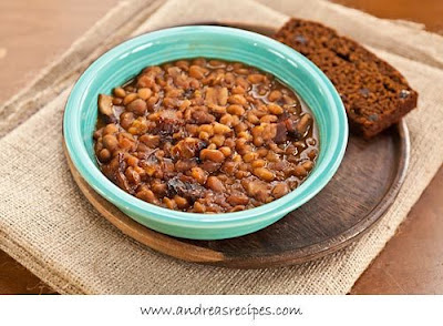 Slow Cooker Boston Baked Beans From Andrea Meyers featured on SlowCookerFromScratch.com