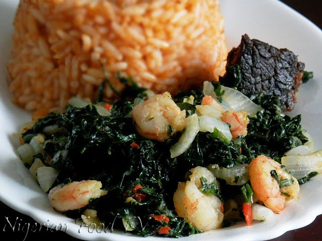 Spinach and shrimps stir-fry , nigerian food tv, nigerian food recipes