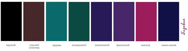 Базовые цвета для одежды внешности Зима