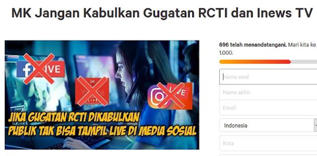 Usai Tranding Di Twitter, Muncul Petisi Tolak Gugatan UU Penyiaran Yang Diajukan RCTI Dan INews