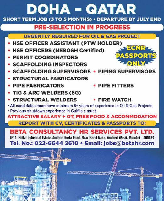 Qatar Jobs, HSE Officer, Permit Coordinator, Scaffolding Jobs, Scaffolding Inspector, Scaffolding Supervisor, Piping Supervisor, Welding Jobs, Fire Watcher, Beta Consultancy Jobs