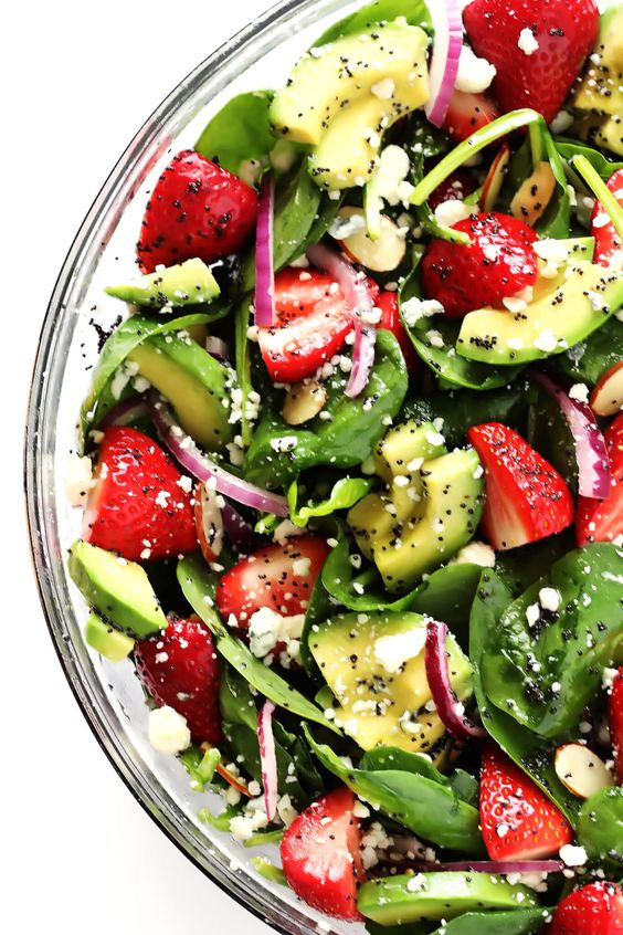 This delicious Strawberry Avocado Spinach Salad is quick and easy to make, full of great fresh flavors, and tossed with a simple poppyseed dressing.