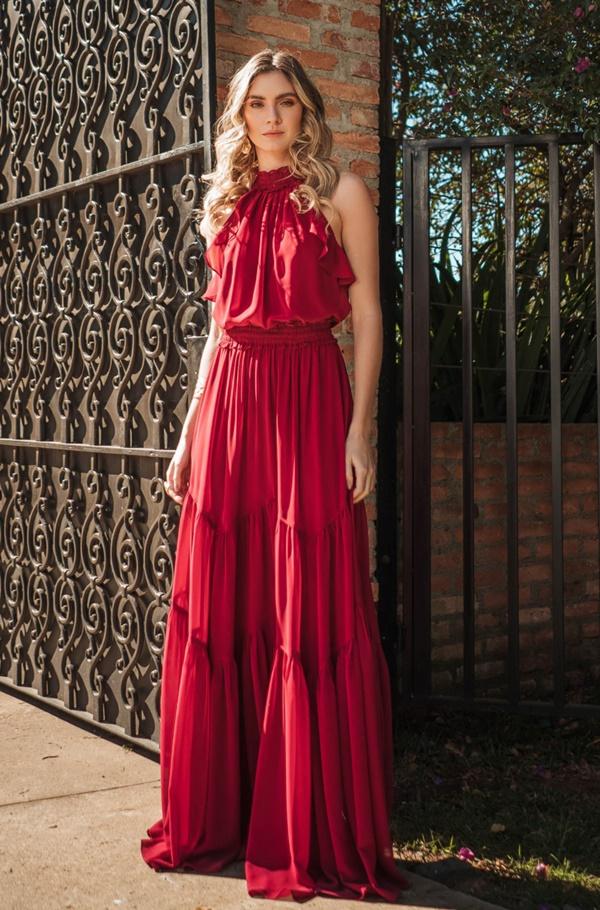 vestido longo marsala para madrinha de casamento dia