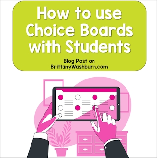 What are choice boards?  A choice board is a graphic organizer that allows students to choose from different ways to show their learning. Choice boards are set up in a grid, generally with 6-9 squares (although you can include more or fewer if desired).