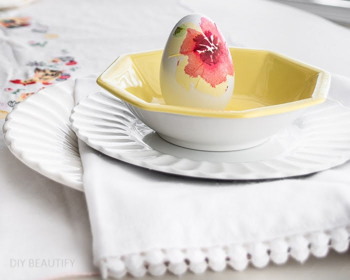 Vintage Easter Tablescape in Daffodil Yellow and Pink
