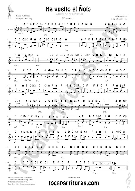 Notes Sheet Music for Treble Clef Ha vuelto el Ñolo for Saxophones, Flutists, Violinists, Trumpetits, Clarinets, Horns... (notas en inglés)