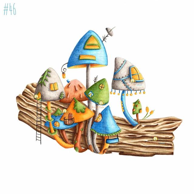 Mushroom village digital stamp