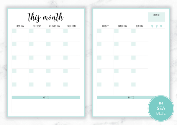 Free Printable Irma Monthly Planners by Eliza Ellis available in A4 and A5 sizes, as well as 6 pretty color themes! Shown here in the color Sea..