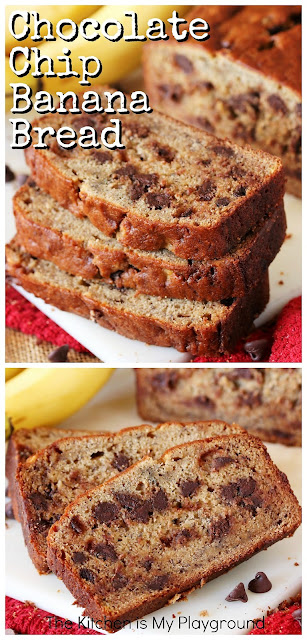 Chocolate Chip Banana Bread ~ Chocolate makes everything better!  And that's especially true with banana bread.  Replace traditional walnuts with chocolate chips, and you've got yourself one super tasty loaf of chocolate-studded Chocolate Chip Banana Bread. So good!  www.thekitchenismyplayground.com