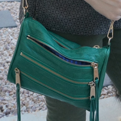 Rebecca Minkoff emerald green mini 5-zip rocker bag | awayfromtheblue