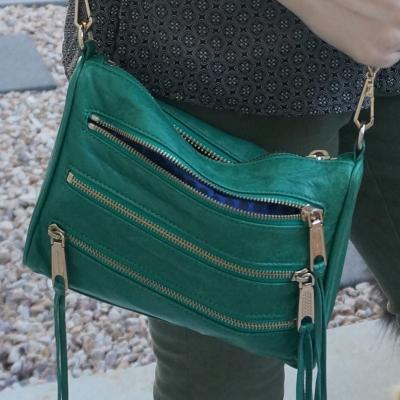 Rebecca Minkoff emerald green mini 5-zip rocker bag | awayfromtheblue