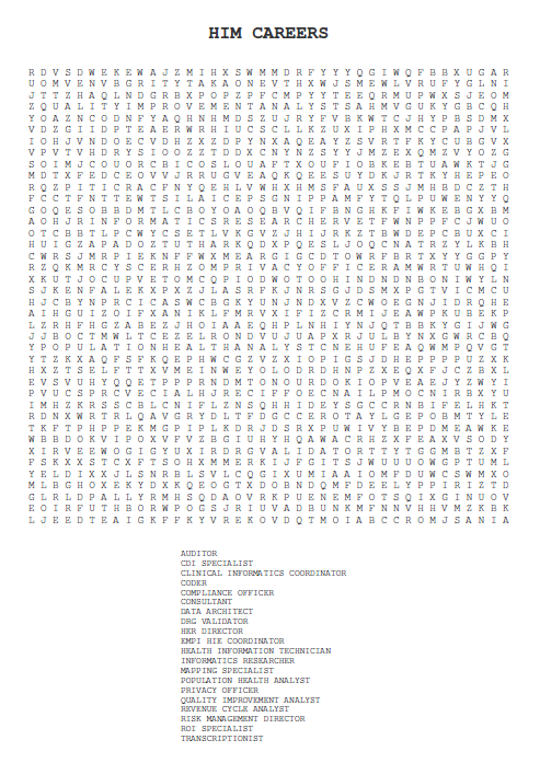 OHIMA Blog: HIM Careers Word Search