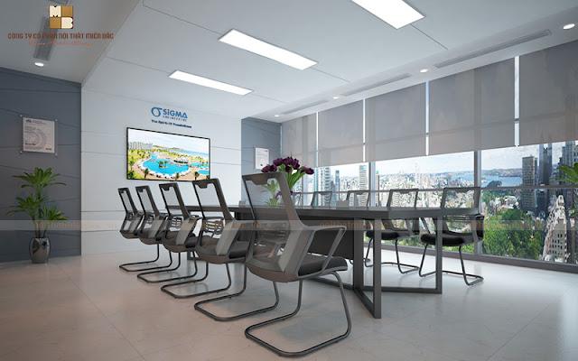 Không gian thiết kế văn phòng họp thật bắt mắt đẳng cấp với 2 gam màu trắng và đen chuyên nghiệp đảm bảo cho không gian sự sang trọng và cuốn hút nhất