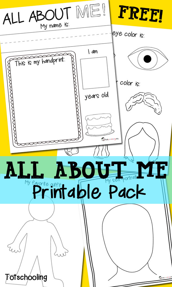 All About Me Free Printable Pack | Totschooling - Toddler, Preschool ...