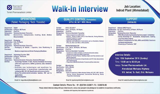 Torrent Pharma - Walk-in interview for Multiple positions on 15th September, 2019