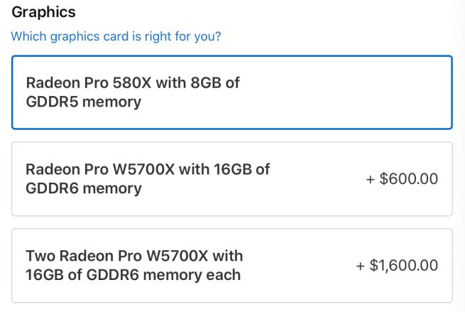 آبل توفر خياراً إضافياً لتدعيم ماك برو بمعالج رسومات Radeon Pro W5700X