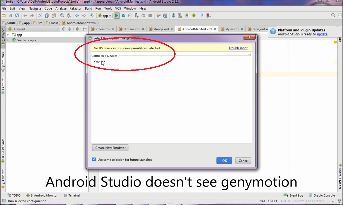 Android Studio Genymotion Device doesn't appear on Device Chooser - GCRT