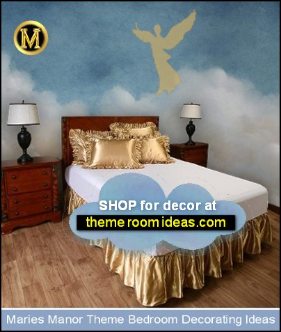 gold satin bedding angel bedroom decor cloud wallpaper mural angel room ideas
