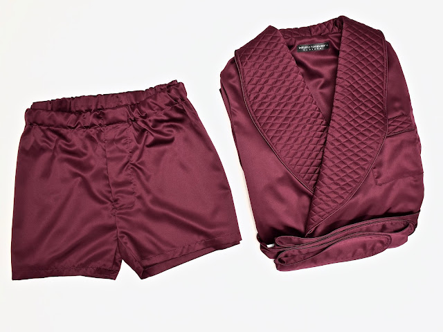 mens silk robe and boxer shorts dark wine red burgundy quilted dressing gown boxer shorts pajamas