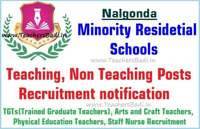 Teaching,Non Teaching posts,Nalgonda Minority Residential Schools