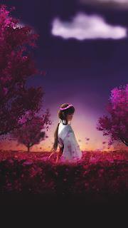 Ancient Anime Girl Walk Garden Mobile HD Wallpaper