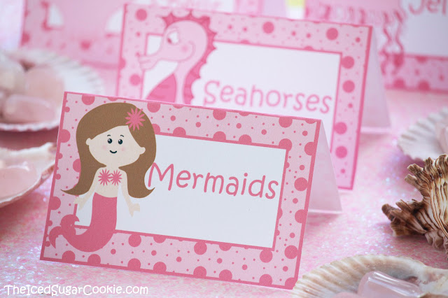 Pink Mermaid Under The Sea Birthday Party Food Label Tent Cards- Mermaids, Jellyfish, Seahorses, Sea Shells, DIY Mermaid Under The Sea Birthday Party Ideas