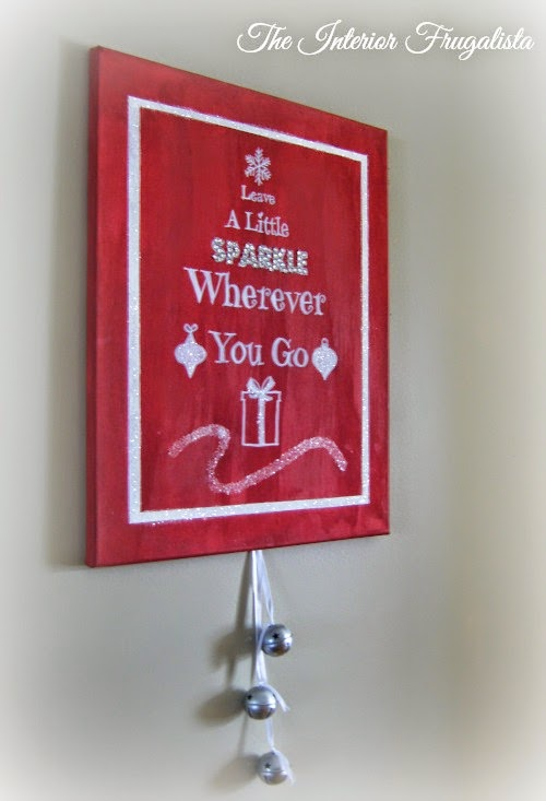 DIY Holiday Canvas with silver bells