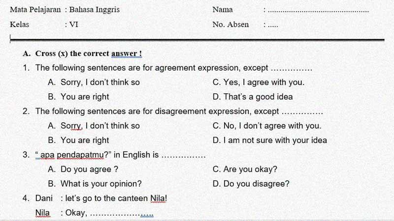 Soal Latihan Penilaian Tengah Semester 1 Bahasa Inggris Kelas 6