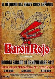 Concierto de Baron Rojo de regreso en Bogotá