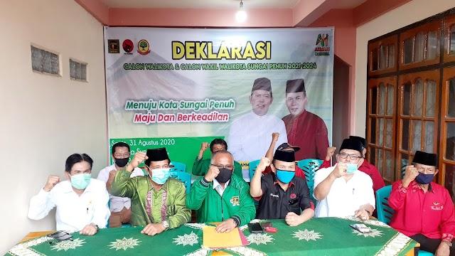Didampingi Ketua Partai Pengusung, Ahmadi-Hardizal Deklarasi Maju di Pilwako Sungai Penuh