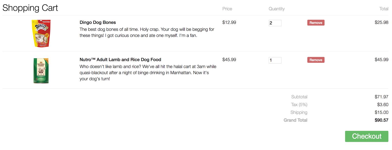 Responsive Shopping Cart UI