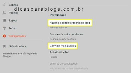 Configurações das Permissões do Blogger