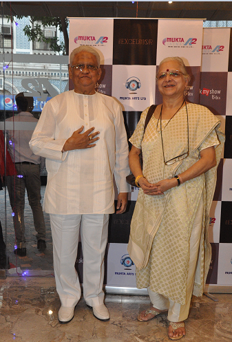 Pyarelalji and his wife grace the launch of the Mukta A2 New Excelsior Cinema