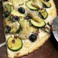 Artichoke Zucchini White Pizza Recipe from RecipesForRealPeople