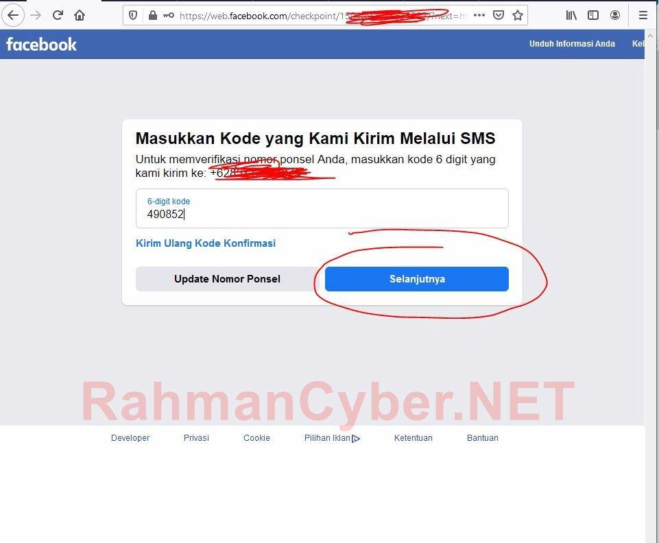 Masukkan kode verifikasi 6 digit dari ponsel yang dikirimkan facebook
