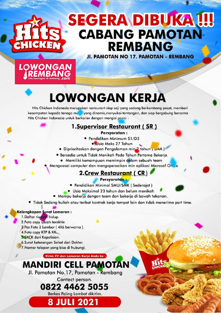 Lowongan Kerja Supervisor Restaurant dan Crew Restaurant Hits Chicken Indonesia Rembang