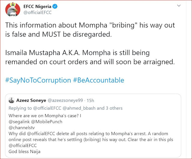 EFCC Gives Update On Mompha. Dismisses Report About 'Bribing His Way Out'