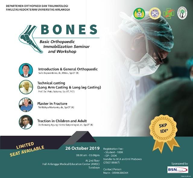 "BONES 2019  (""Basic Orthopaedic Immobilization Seminar and Workshop"")!  26 Oktober 2019"