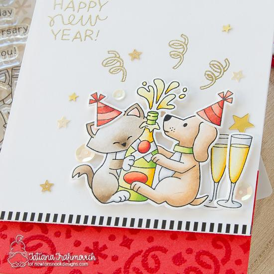 Happy New Year Card by Tatiana Trafimovich | Newton Celebrates Stamp Set, Newton's New Year Stamp Set and Confetti Stencil by Newton's Nook Designs #newtonsnook #handmade