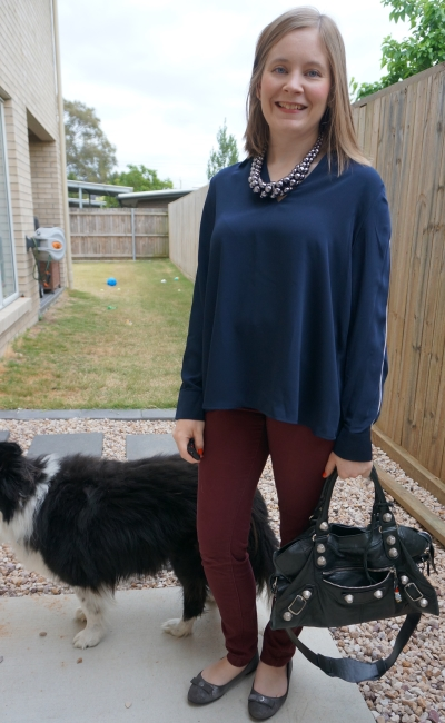Target Preview navy long sleeve collared shirt with burgundy pants statement necklace for the office | awayfromblue