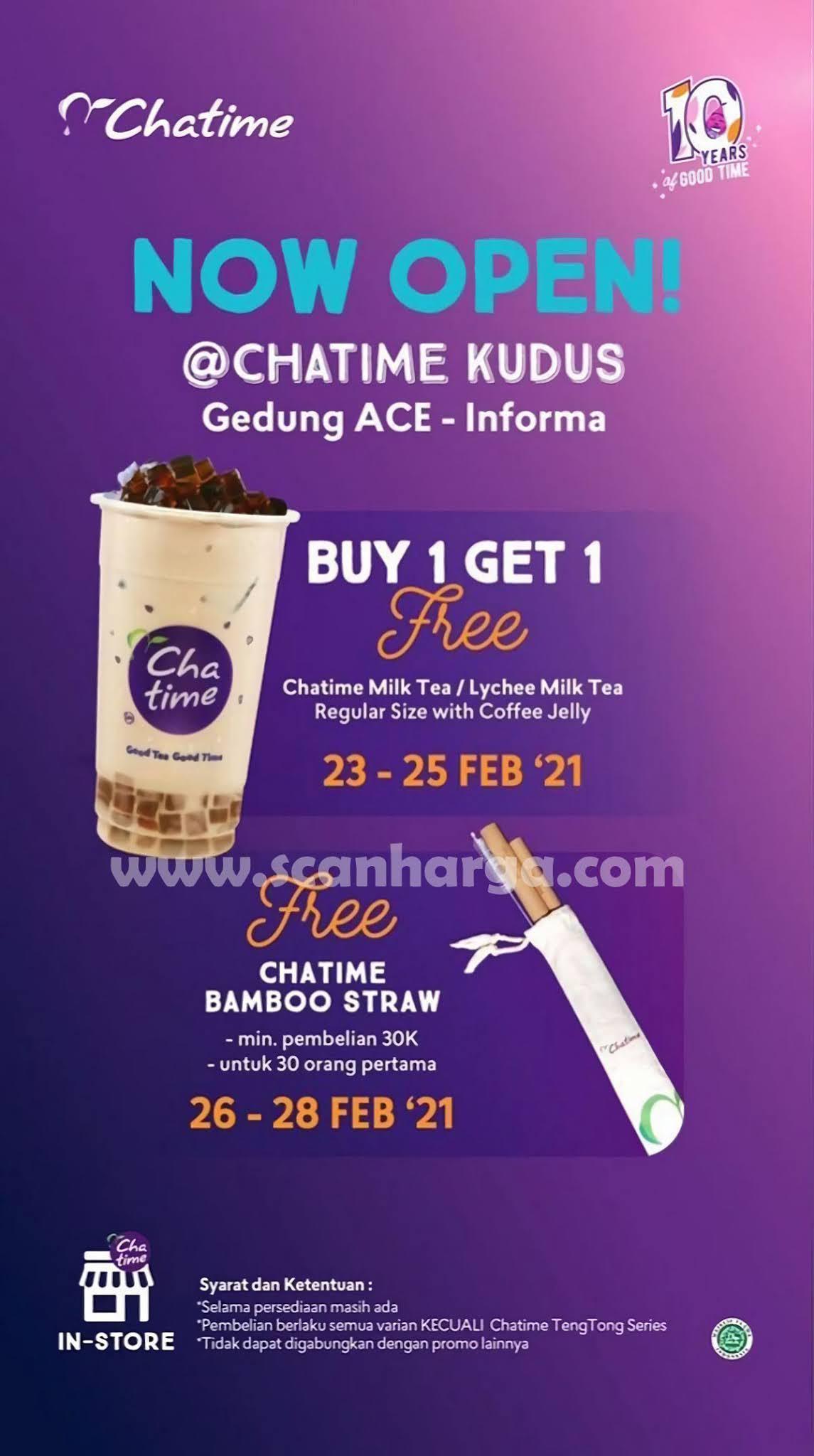 CHATIME KUDUS Living Plaza Ace Informa Opening Promo Beli 1 Gratis 1