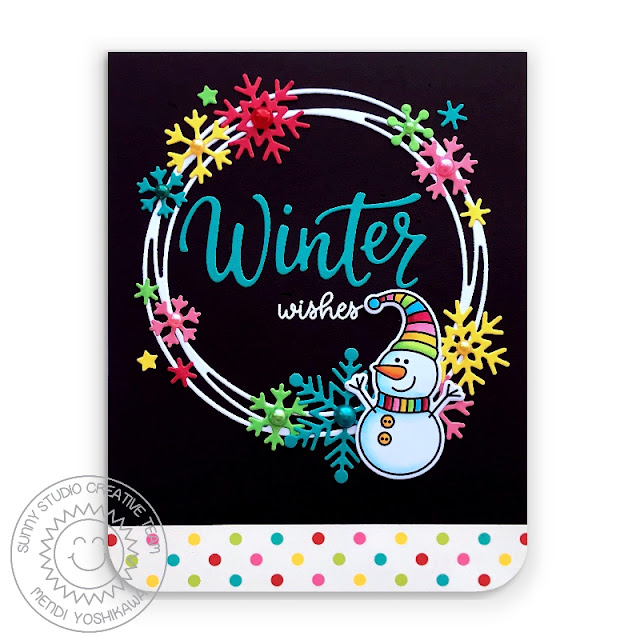 Sunny Studio Stamps: Feeling Frosty Rainbow Polka-dot Snowman Winter Wishes Holiday Christmas Card (using Snowflake Circle Frame Dies & Very Merry 6x6 Paper)