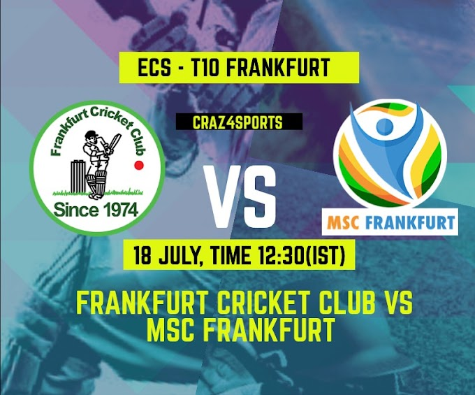 FCC VS MSF Dream11 prediction, Frankfurt Cricket Club Vs MSC Frankfurt, Dream11 ECS T10 Frankfurt, Top picks, Players stats, Pitch Report, Dream Team