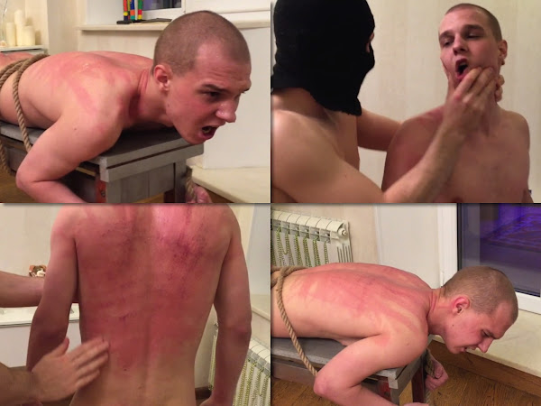 #RusStraightGuys - Screaming is a music to Master's ears – Back whipping for Sanechek 19 y.o.